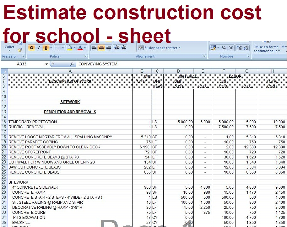 Estimate Construction Cost For School Sheet Civil