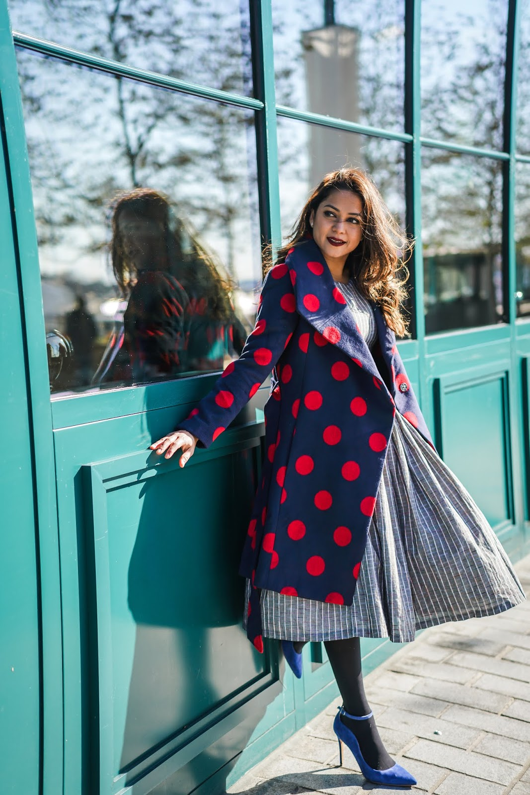 Modcloth flared dress, polka dot jacket, vince camuto pumps, sparkly sweater, holidat sweater, hostess outfit, fashion, vintage look, myriad musings