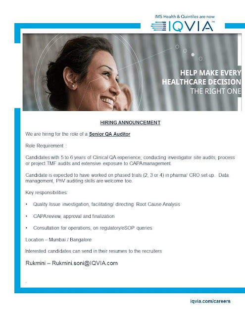 IQVIA Walk-In Interviews Click here & Apply Online