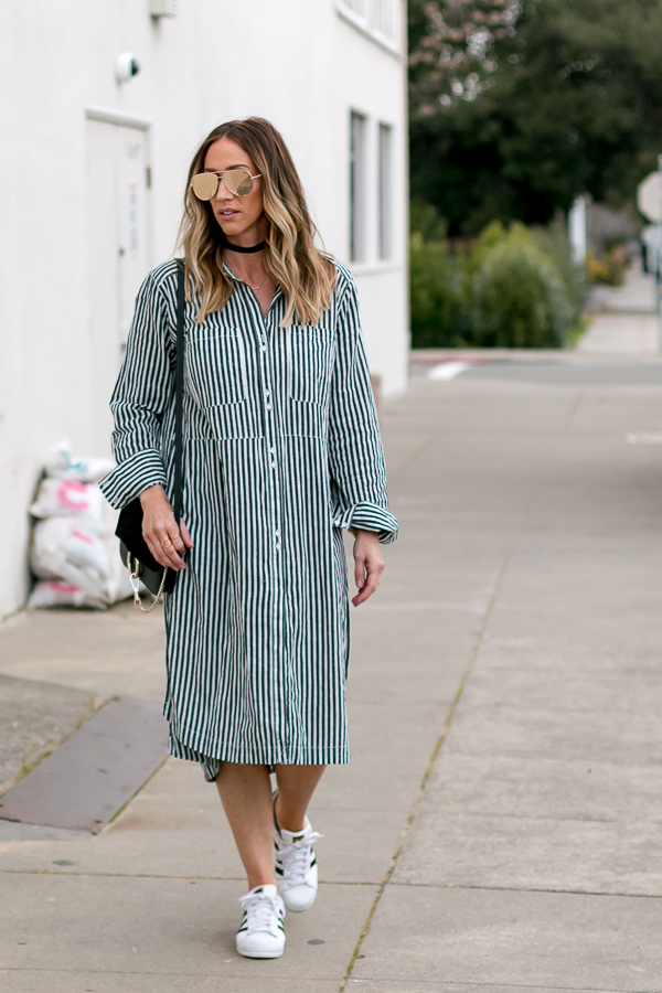 shirtdress with sneakers