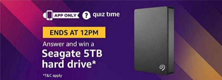 Amazon Seagate Hard Drive Quiz Answers – 30th November