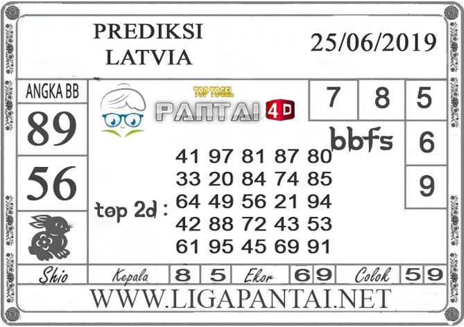 """PREDIKSI TOGEL """"LATVIA"""" PANTAI4D 25 JUNI 2019"""