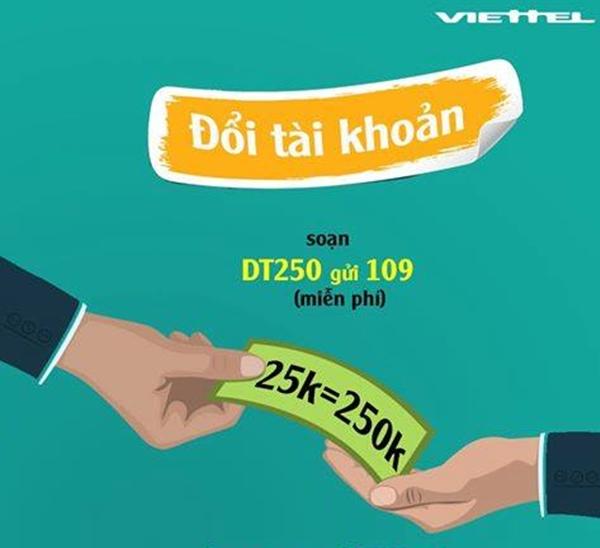 Đổi 25,000đ lấy 250,000đ với gói cước đổi tiền DT250 Viettel