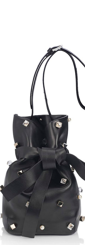 Jimmy Choo Eve Studded Leather Bucket Bag in Black