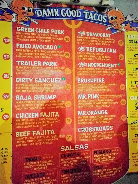 Torchy's Tacos menu at the Food Truck Trailer Park in Austin, Texas