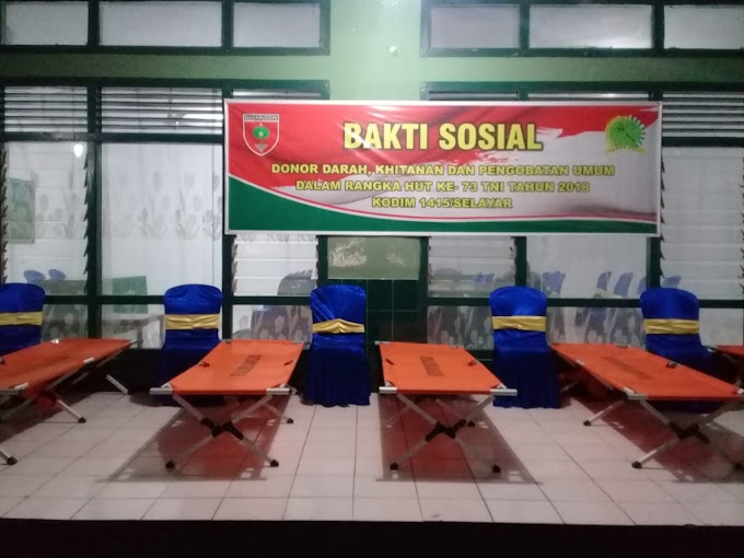 Baksos dan Pencanangan Program TNI Manunggal  KB Kes Kodim 1415/Selayar