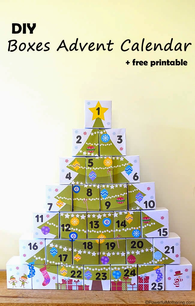 DIY Boxes Advent Calendar Free Printable by Powerful Mothering