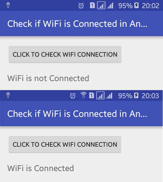 How to Check WiFi Connected or Not in Android Programmatically