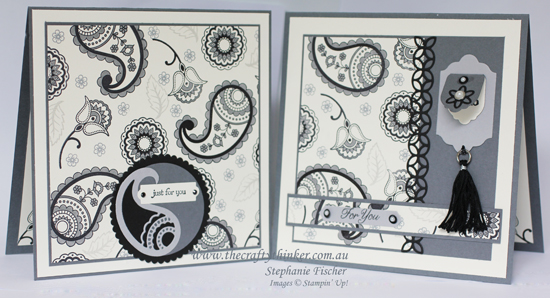 Stampin Up, #thecraftythinker, Paisleys & Posies, Monochrome, monochromatic cards, Flourish thinlits, Cheeerful Tags, Stampin Up Australia demonstrator