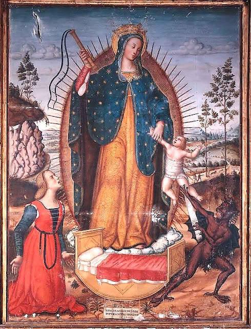 Nossa Senhora do Socorro, ou do flagelo,  igreja de Santa Marina, Castel Ritaldi, Itália.