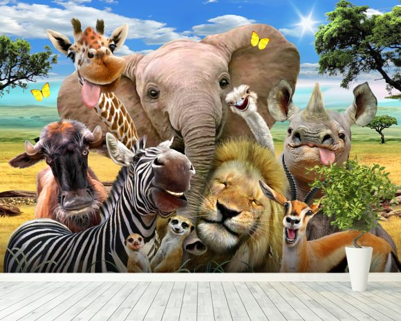 A wall mural of safari animals smiling