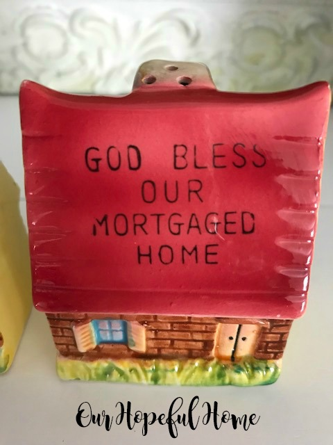 God Bless Our Mortgaged Home pink roof salt pepper shakers 1950's era kitchenware