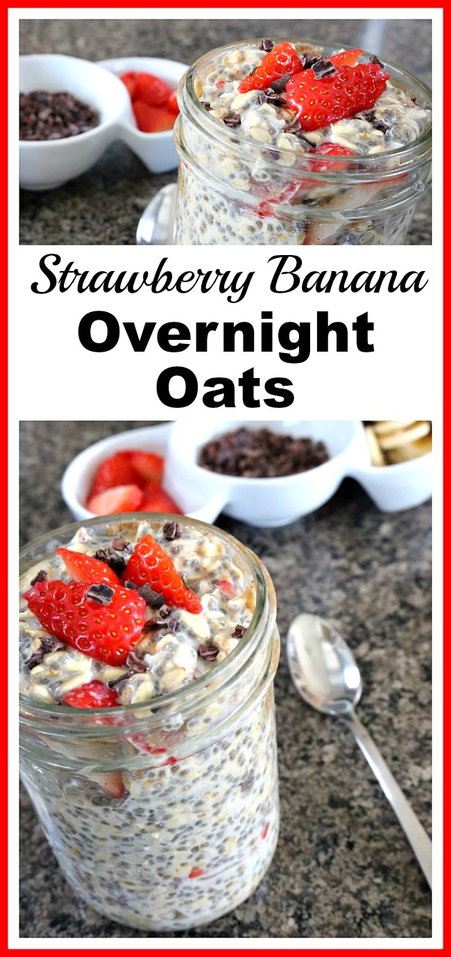 Strawberry Banana Overnight Oats- The best way to ensure you have a good breakfast is to set it up ahead of time! Here's how to make strawberry banana overnight oats! | breakfast recipe, easy breakfast, fast, quick, healthy, fresh fruit, strawberries