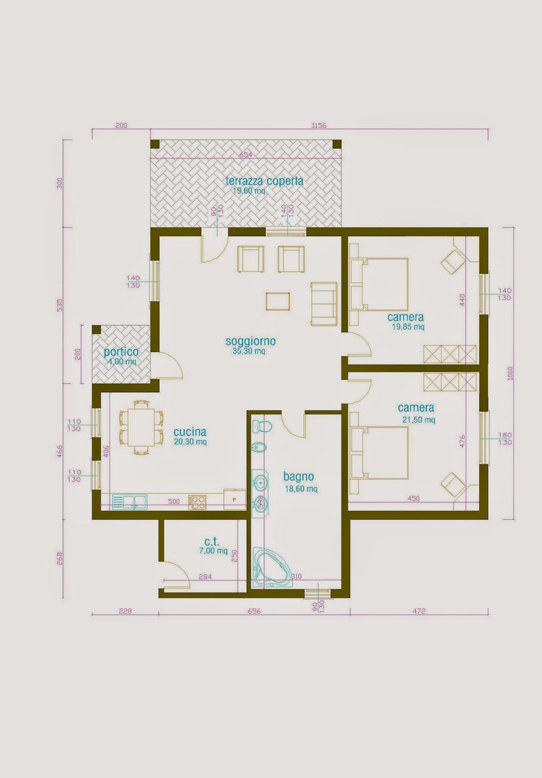 Progetti di case in legno casa 143 mq porticati 24 mq for Progetti case interni