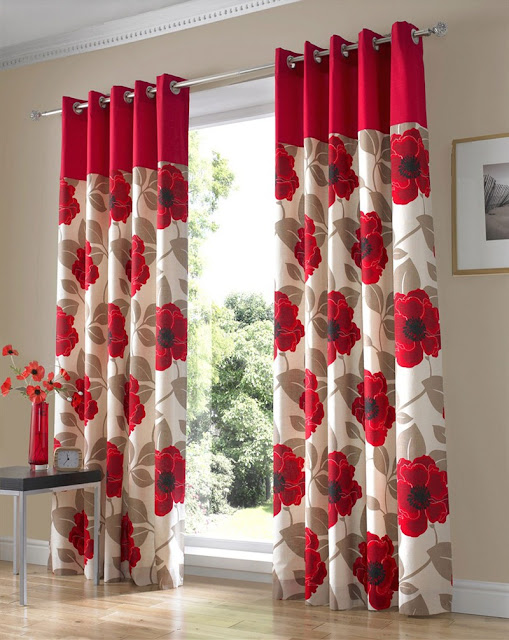 elegant red and white curtains with roses