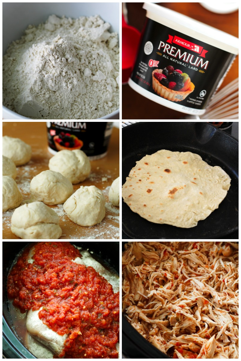 Slow Cooker Salsa Ranch Chicken Tacos are made by topping easy-to-make homemade tortillas with 3-ingredient shredded chicken, fresh veggies, and a cool greek yogurt salsa ranch.  Your family will fall in love with this crockpot dinner recipe! #ArmourPremiumLard #Pmedia #ad @walmart