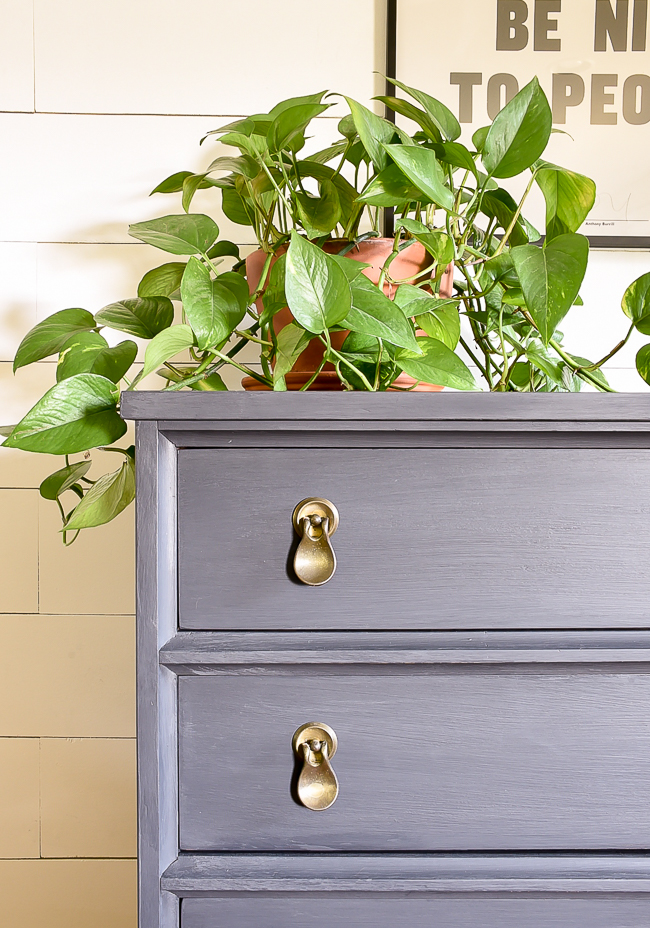 Charcoal painted MCM dresser makeover