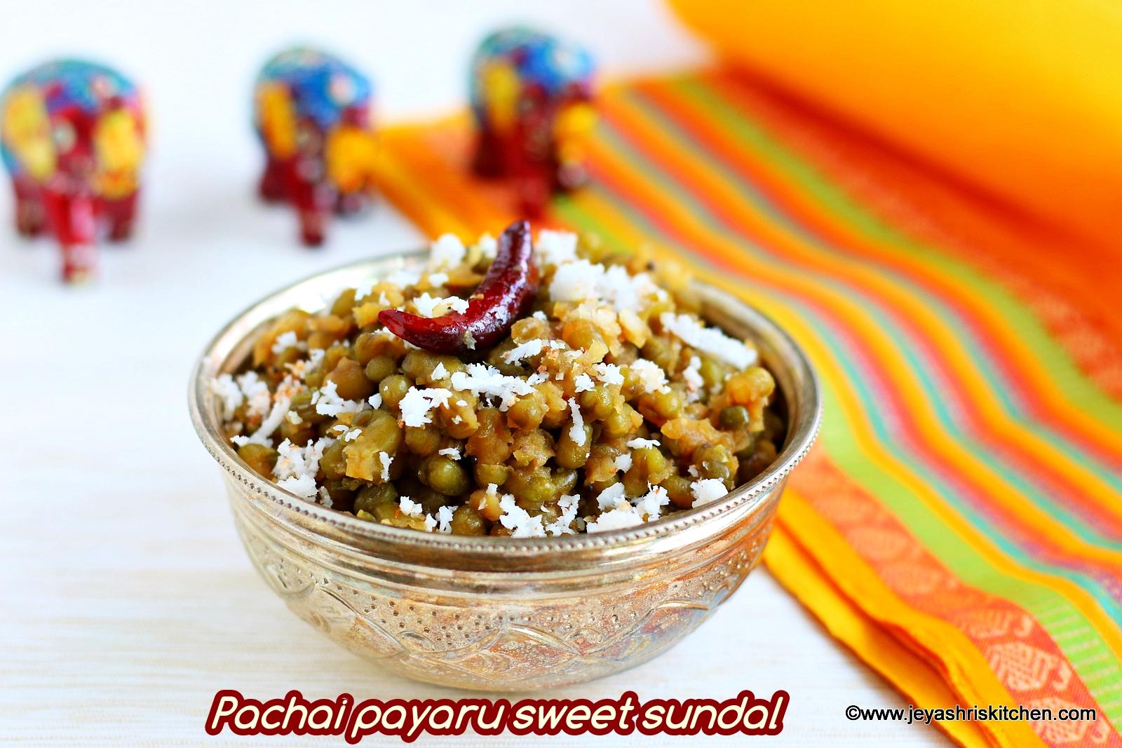 pachai payaru vella sundal recipe green gram sundal - Jeyashris Kitchen