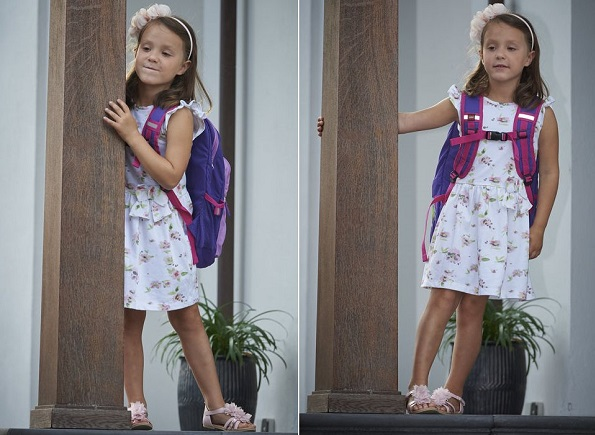 Princess Athena set off for her very first day at school with her parents, Princess Marie and Prince Joachim. Marie wore dress