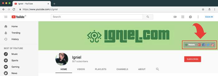 Menambahkan URL Blog dan Media Sosial di Banner Channel Youtube