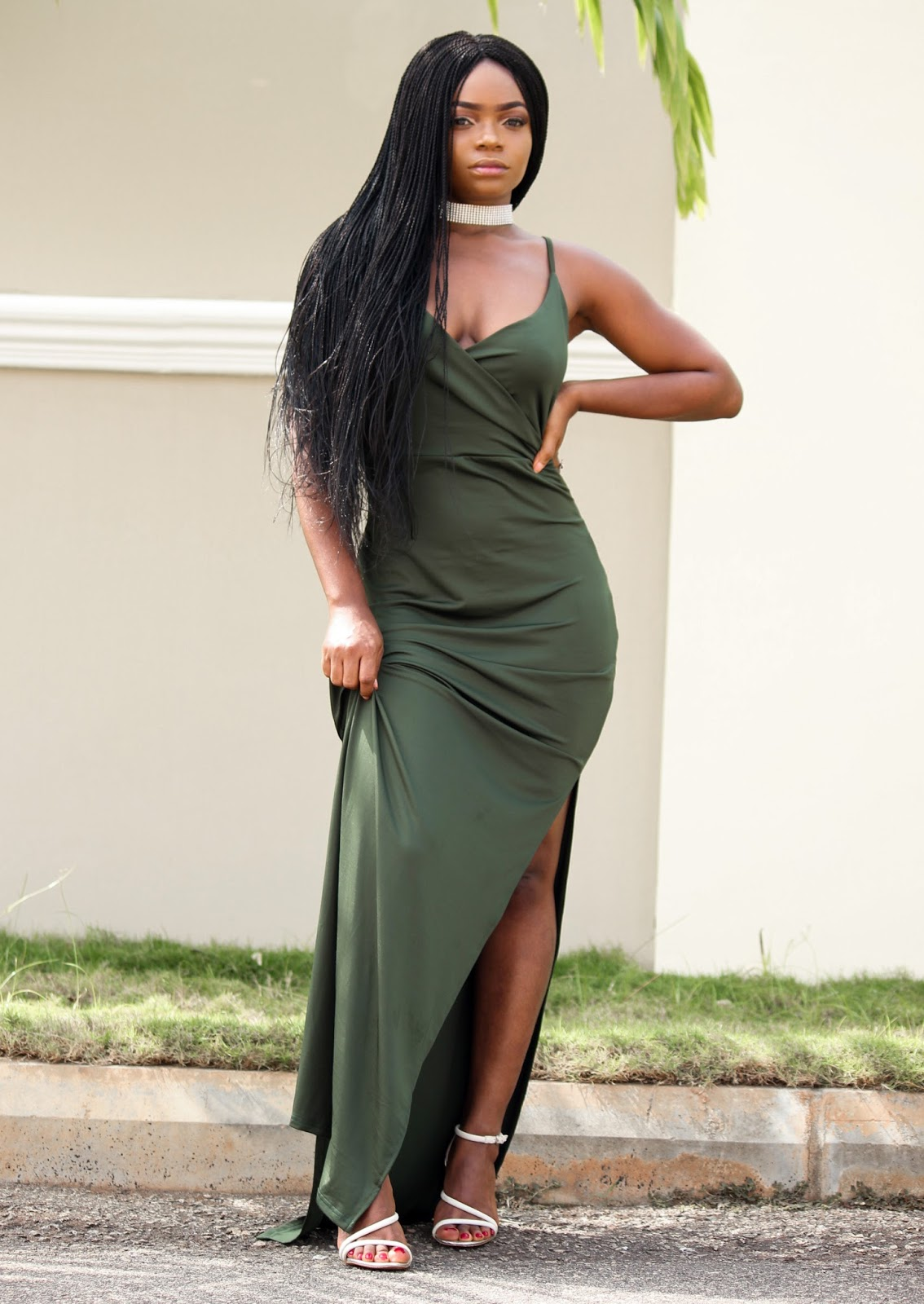 MAXI SLIP DRESS - SammyDress High Slit Maxi Slip Dress in Khaki with Zaful Choker and Zara Sandals