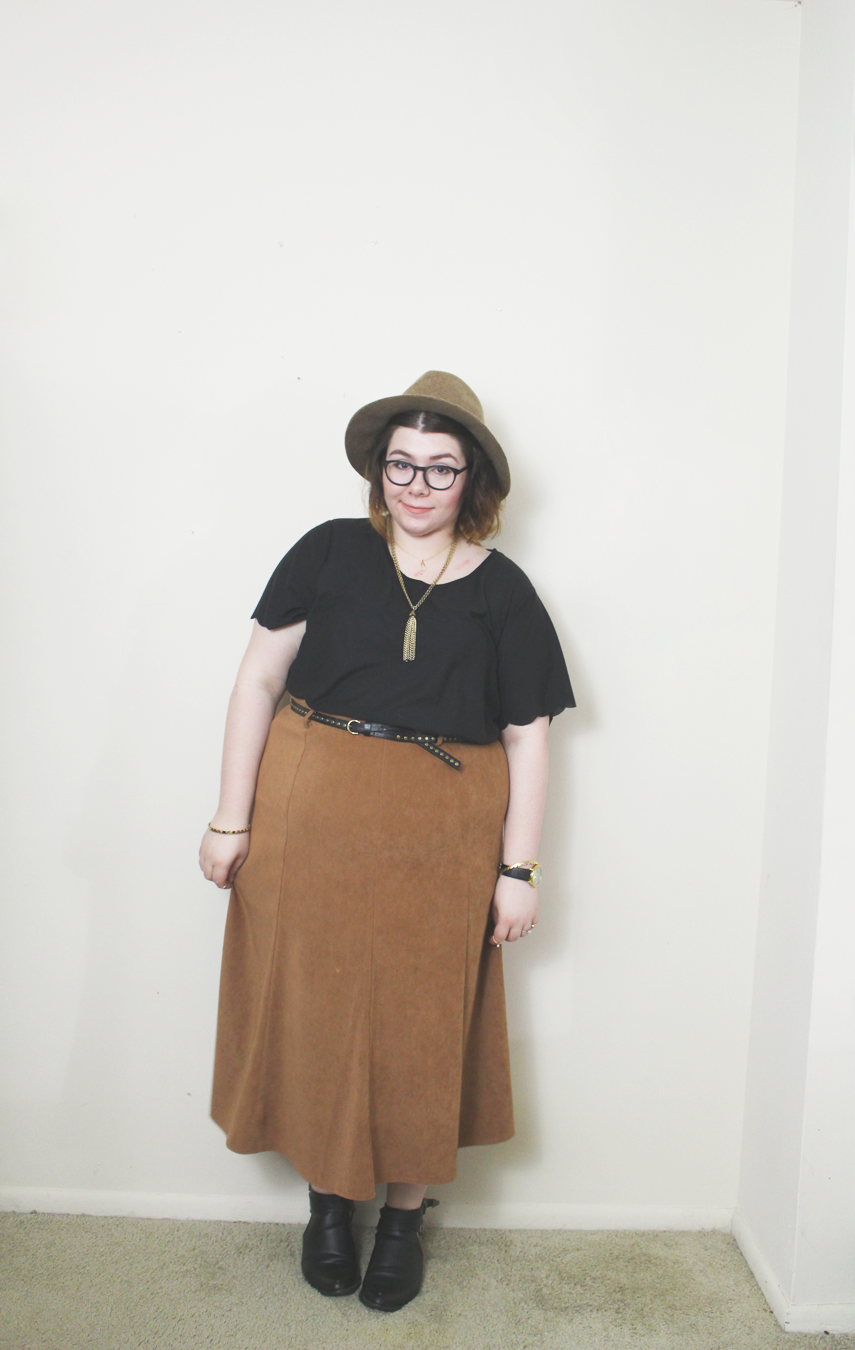 suede midi skirt, outfit