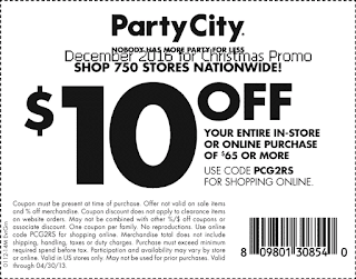 free Party City coupons december 2016