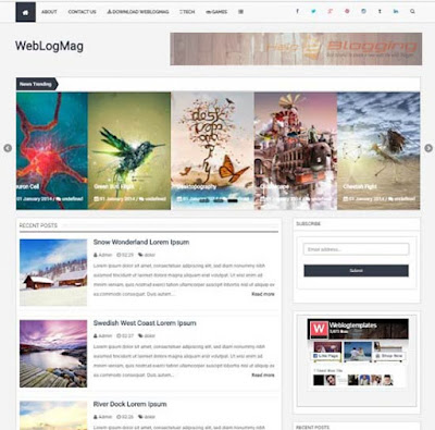 WebLogMag Responsive, Simple design News, Magazine, Personal blog etc Awesome slideshow Drop down Menu List view Minimalist White, Gray color Post Thumbnails Right Sidebar 2 Columns layout 4 Columns Footer Blogger Template-download