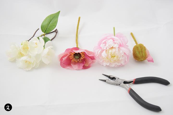 Etape 2 diy couronne de fleurs