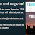 Write for our September Magazine