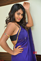 Actress Priya in Blue Saree and Sleevelss Choli at Javed Habib Salon launch ~  Exclusive Galleries 024.jpg