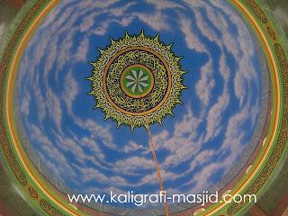 kaligrafi awan masjid, jasa cat awan masjid, harga ornamen cat motif marmer