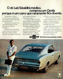 propaganda Chevrolet Opala - 1073, Opala 73, GM anos 70, Chevrolet década de 70, carros Chevrolet anos 70, Oswaldo Hernandez,