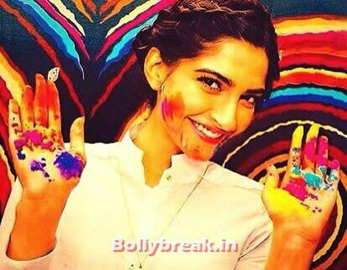 Sonam Kapoor, Bollywood Celebrities Holi Pics - Hrithik, Sonam, Sonakshi, Jacqueline
