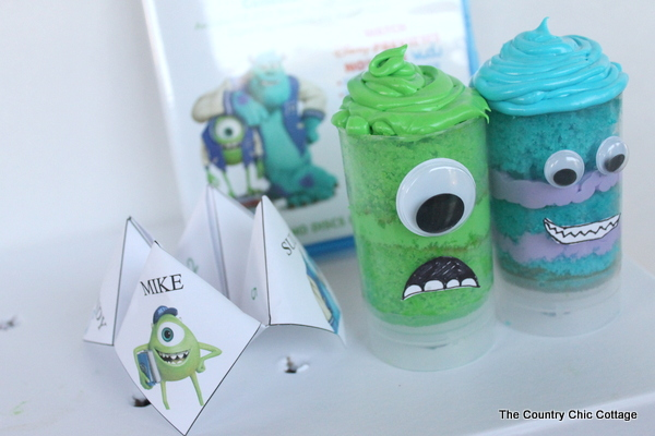 Make these great Monsters University push pop cupcakes for your family night.  These would also be great for your Monsters themed party!   Plus learn how to preorder the movie for delivery to your home in the fall. #cbais #mupreorder