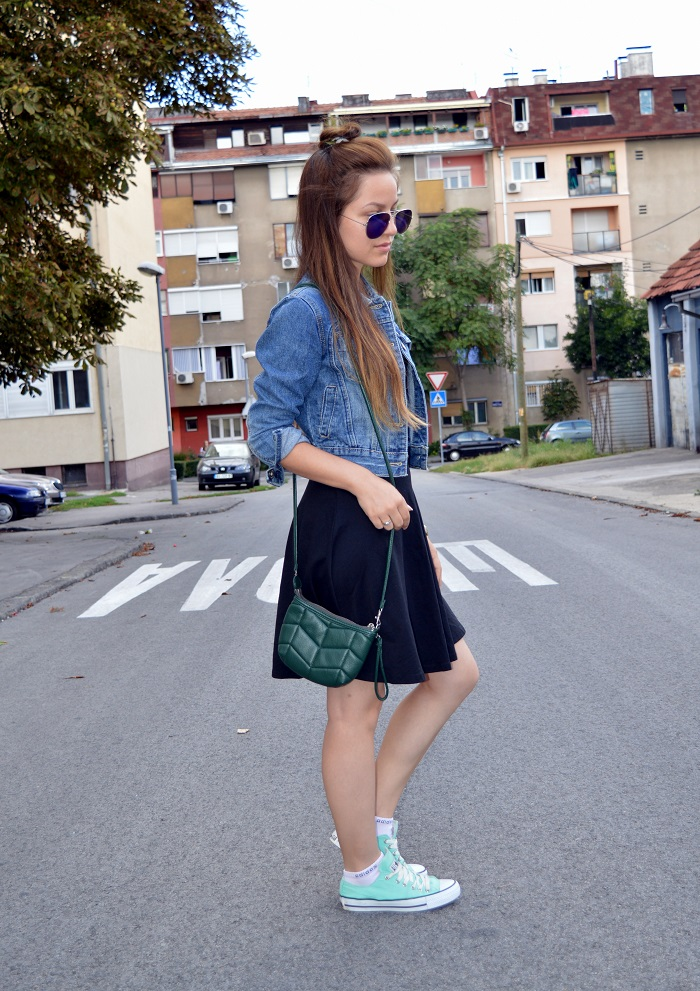 outfit, little black dress, mint converse sneakers, blue mirrored aviator sunglasses, denim jacket