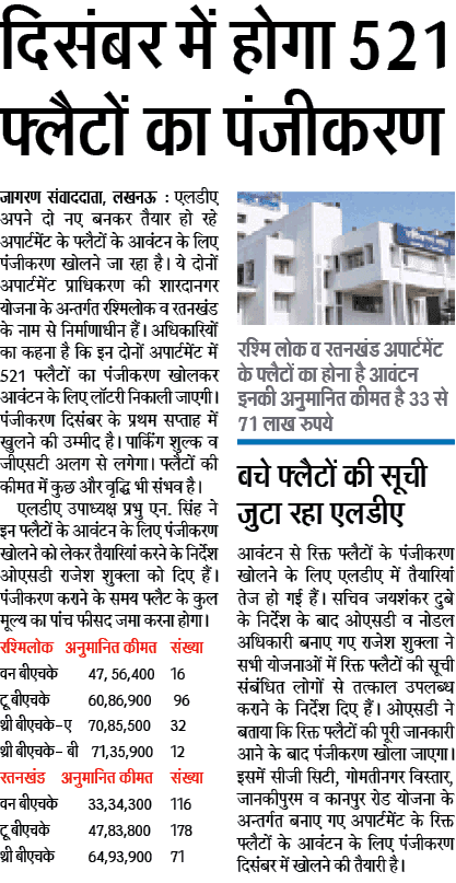 LDA Flat Scheme 2017, 512 Flats Latest News, Lucknow Development authority