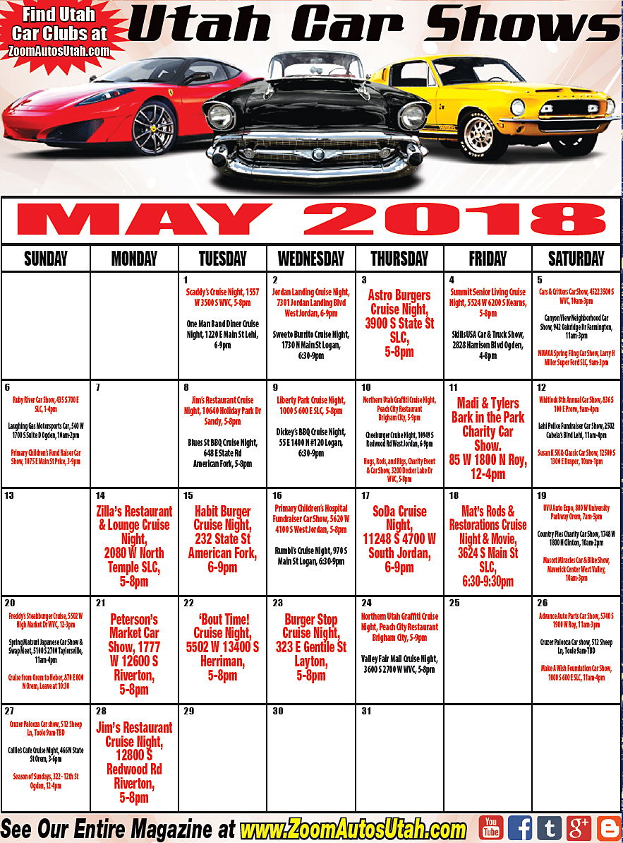 On The Road With Zoom Utah Car Shows - Jc hackett car show calendar