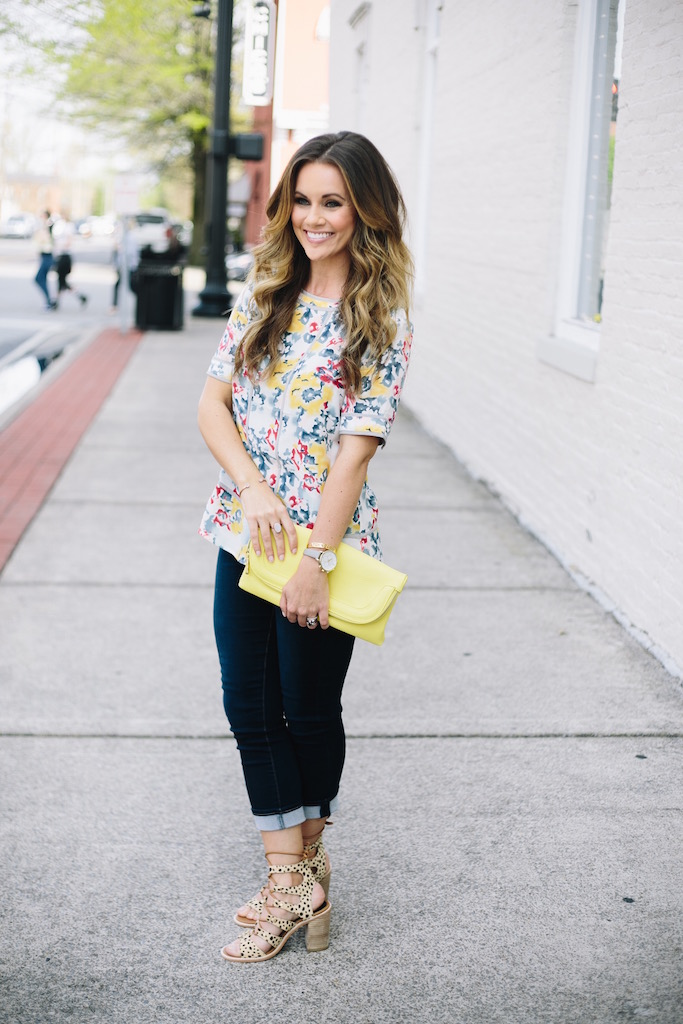 KBStyled: peplum top floral top cropped denim yellow bag