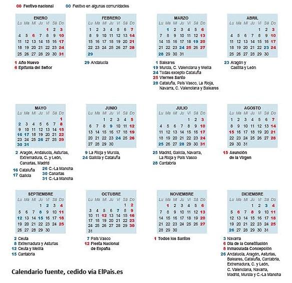 Calendario Laboral En España y Días Festivos