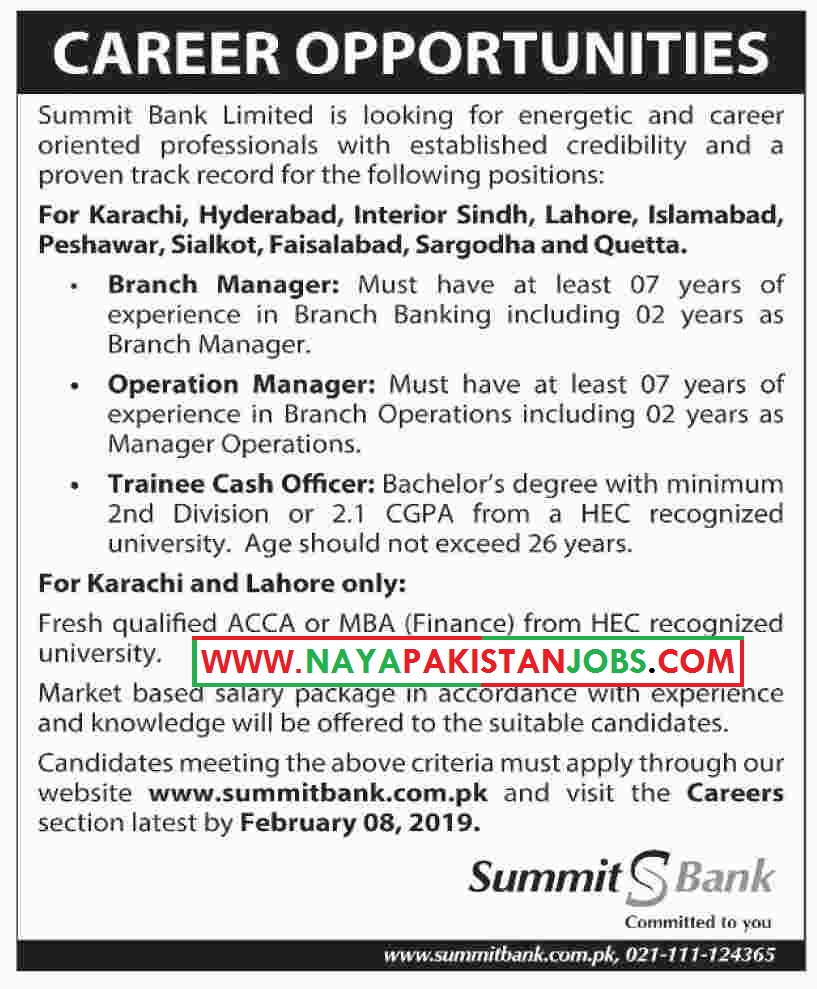 Summit Bank Jobs, Summit Bank Limited Jobs Jan 2019 | Trainee Cash Officer and others