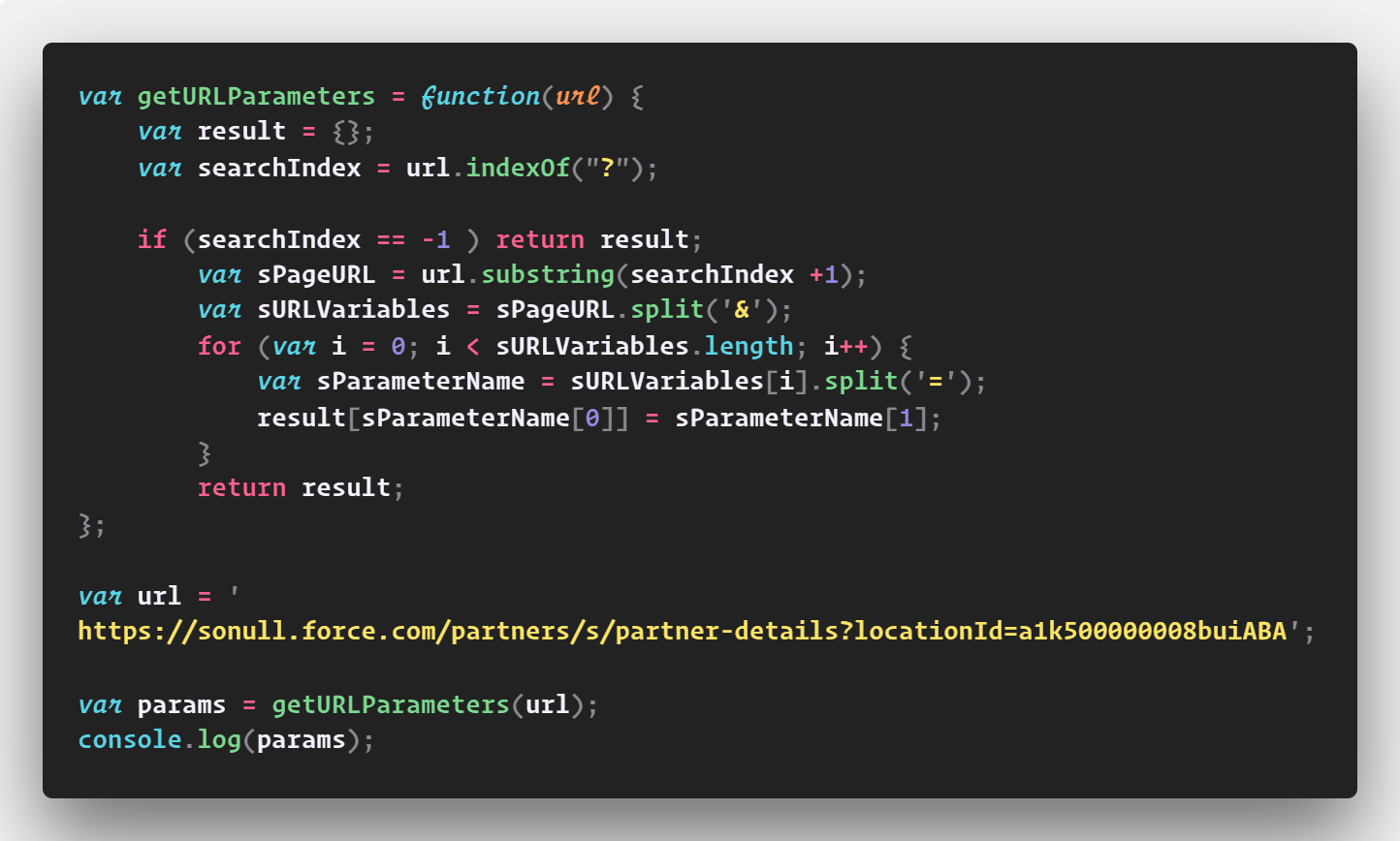 Javascript: Fetch parameters from a URL ~ Hello Salesforce