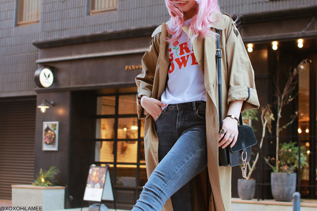Japanese Fashion Blogger,MizuhoK,20180505OOTD,Zaful=trench coat,SheIn=girls power tee,Bershka=gray jeans,H&M=red sock boots,Light in the box=crossbody, Black beret