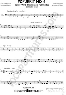 Mix 6 Partitura de Tuba Elicón (o Bajo Metal) Estaba el Señor Don Gato, Todos los Patitos, Qué llueva Infantil, El Conde Olinos Mix 6 Sheet Music for Tuba Music Scores