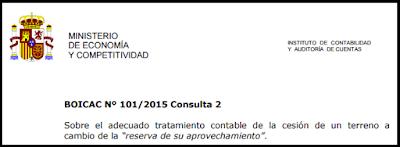 BOICAC 101 consulta 2 cesión terreno reserva aprovechamiento
