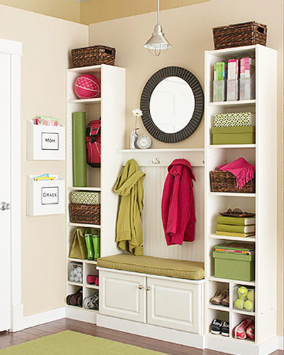 DIY Mudroom using lockers for the entry way using Ikea furniture for a built in appearance.