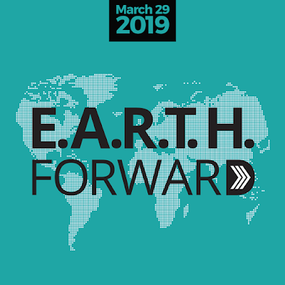 Poster for Earth Forward, with illustrated images of all continents.