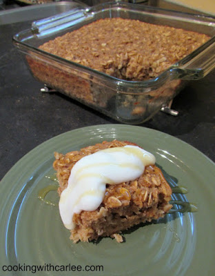 piece of banana bread baked oatmeal served with remaining dish in background