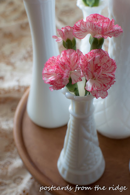 Sweet little milk glass vase with carnations.