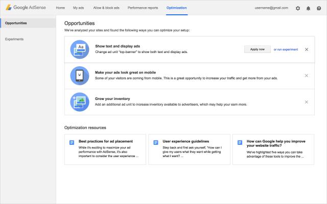 fitur baru tab Optimization Google Adsense